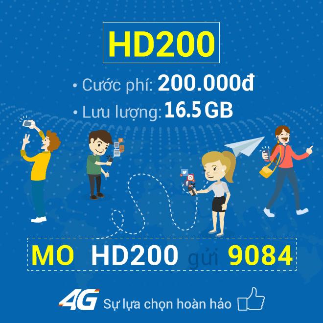 Đăng ký gói cước HD200 Mobifone ưu đãi 16,5GB data