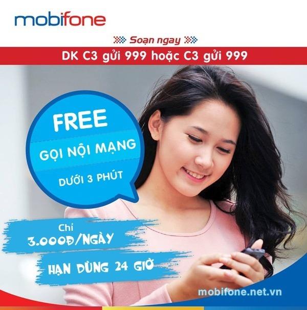 Đăng ký gói cước C3 Mobifone chỉ 3.000đ/ngày