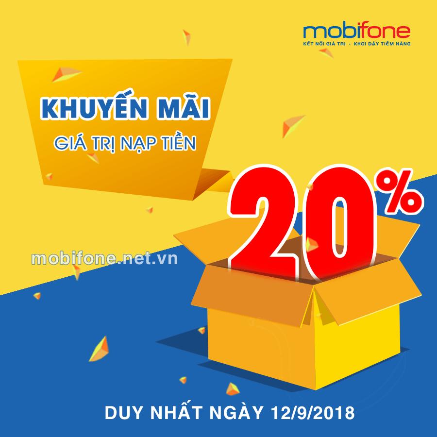 Mobifone khuyến mãi 12/9/2018 ưu đãi ngày vàng