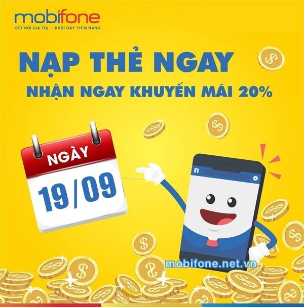 Mobifone khuyến mãi 19/9/2018 ưu đãi ngày vàng