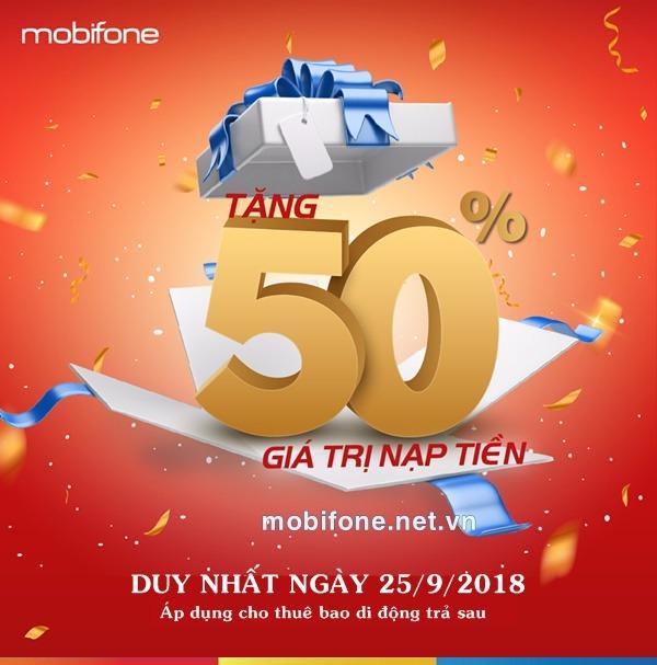 Mobifone khuyến mãi 25/9/2018 ưu đãi ngày vàng cho thuê bao trả sau