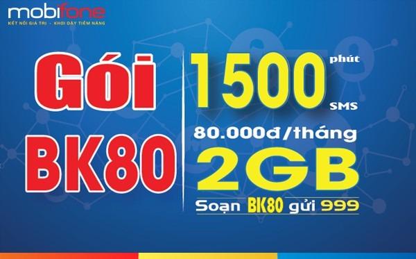 Đăng ký gói cước BK80 Mobifone chỉ 80.000đ/tháng