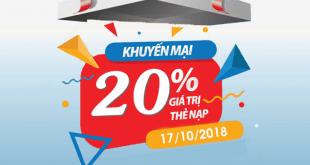 Mobifone khuyến mãi ngày 17/10/2018 tặng 20% thẻ nạp
