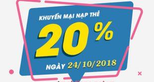 Mobifone khuyến mãi 24/10/2018 ưu đãi ngày vàng