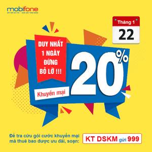 Mobifone khuyến mãi 22/1/2019 ưu đãi 20% tiền nạp cục bộ