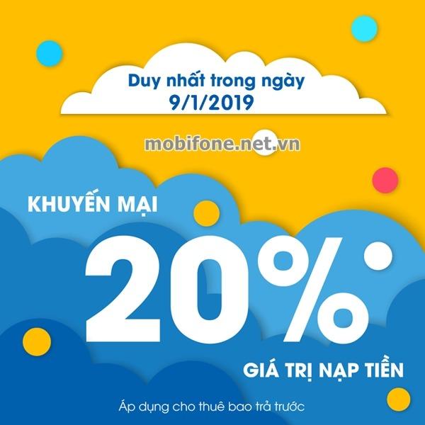Mobifone khuyến mãi 9/1/2019 ưu đãi ngày vàng