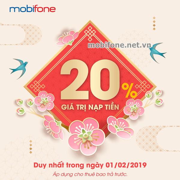 Mobifone khuyến mãi 1/2/2019 ưu đãi 20% tiền nạp ngày vàng