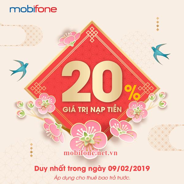 Mobifone khuyến mãi 9/2/2019 ưu đãi 20% tiền nạp