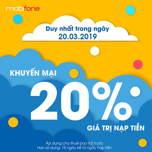 Mobifone khuyến mãi 20/3/2019 ưu đãi ngày vàng toàn quốc