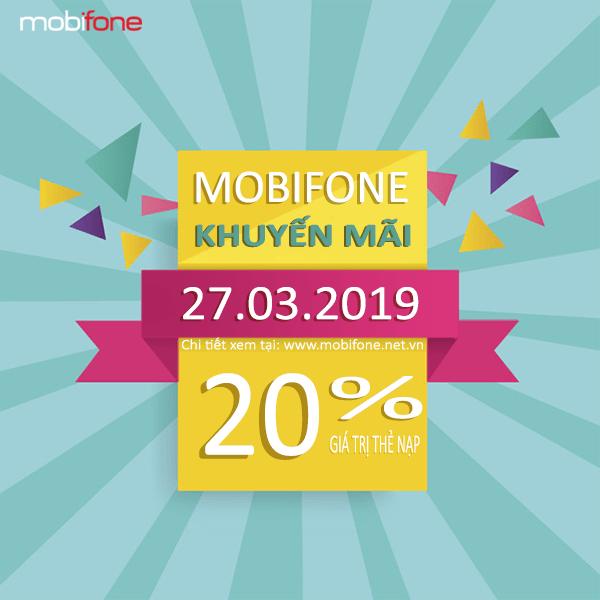 Mobifone khuyến mãi 27/3/2019 ưu đãi ngày vàng toàn quốc
