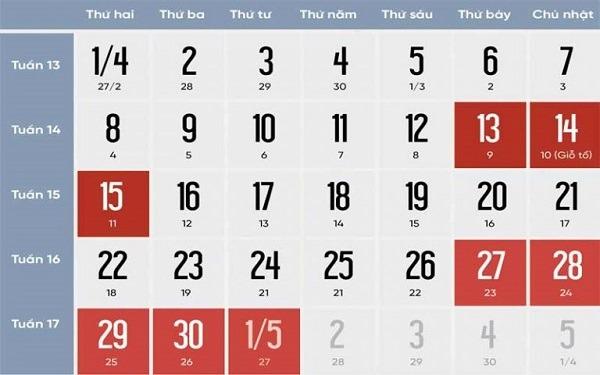 Lịch nghỉ Giỗ Tổ Hùng Vương và 30/4 - 1/5 năm 2019 người lao động được ngỉ 8 ngày