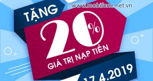 Mobifone khuyến mãi 17/4/2019 ưu đãi ngày vàng tặng 20% thẻ nạp ngày vàng