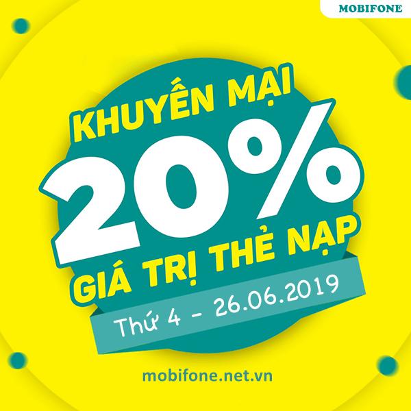 Mobifone khuyến mãi 26/6/2019 ưu đãi NGÀY VÀNG tặng 20% giá trị tiền nạp