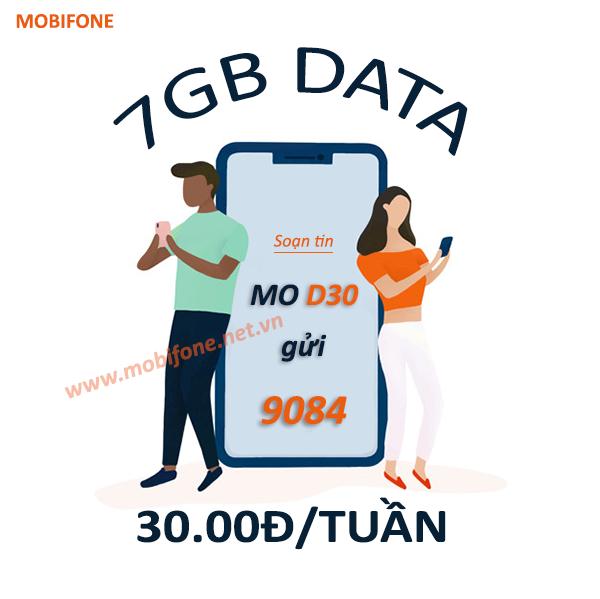 Đăng ký gói D30 Mobifone ưu đãi 7GB data dùng thả ga 7 ngày chỉ 30.000đ