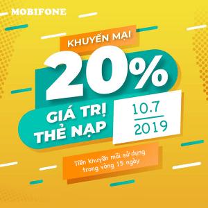 Mobifone khuyến mãi 10/7/2019 ưu đãi NGÀY VÀNG tặng ngay 20% tiền nạp