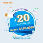 Mobifone khuyến mãi 17/7/2019 ưu đãi NGÀY VÀNG tặng 20% giá trị thẻ nạp