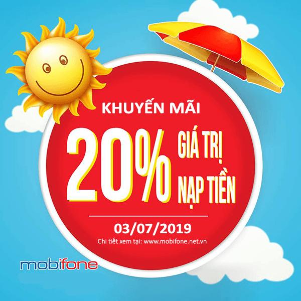 Mobifone khuyến mãi 3/7/2019 ưu đãi NGÀY VÀNG tặng 20% tiền nạp