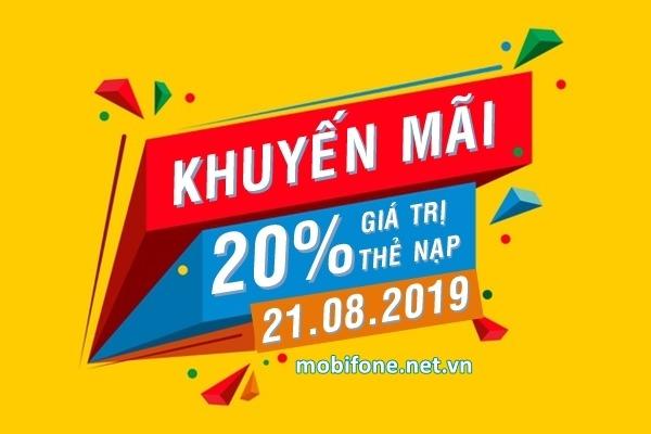 Mobifone khuyến mãi 21/8/2019 ưu đãi NGÀY VÀNG tặng 20% giá trị thẻ nạp