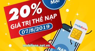 Mobifone khuyến mãi 7/8/2019 ưu đãi NGÀY VÀNG tặng 20% giá trị thẻ nạp