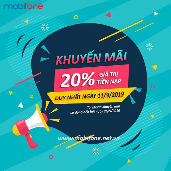 Mobifone khuyến mãi 11/9/2019 ưu đãi NGÀY VÀNG tặng 20% thẻ nạp