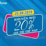 Mobifone khuyến mãi 25/9/2019 ưu đãi NGÀY VÀNG tặng 20% giá trị nạp