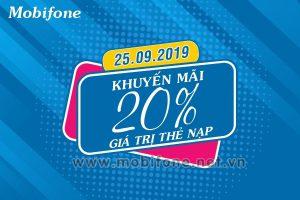 Mobifone khuyến mãi 25/9/2019 ưu đãi NGÀY VÀNG toàn quốc tặng 20%