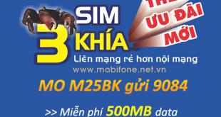 Đăng ký gói M25BK Mobifone ưu đãi 500MB data chỉ với 25.000đ/tháng