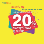 Mobifone khuyến mãi 16/10/2019 ưu đãi NGÀY VÀNG tặng 20% giá trị tiền nạp