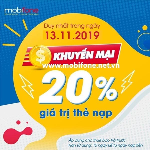 Mobifone khuyến mãi 13/11/2019 ưu đãi NGÀY VÀNG tặng 20% giá trị thẻ nạp