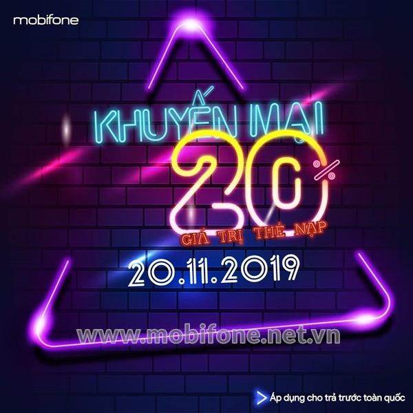 Mobifone khuyến mãi 20/11/2019 nạp tiền NGÀY VÀNG nhận ưu đãi 20% giá trị thẻ nạp