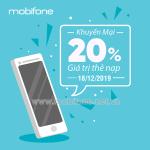 Mobifone khuyến mãi 18/12/2019 tặng 20% giá trị mỗi thẻ nạp