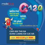 Đăng ký gói C120 Mobifone nhận ngay 60GB data và triệu phút gọi