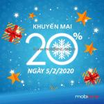 Mobifone khuyến mãi 5/2/2020 ưu đãi 20% tiền nạp NGÀY VÀNG