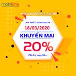 Mobifone khuyến mãi 18/3/2020 ưu đãi NGÀY VÀNG tặng 20% tiền nạp