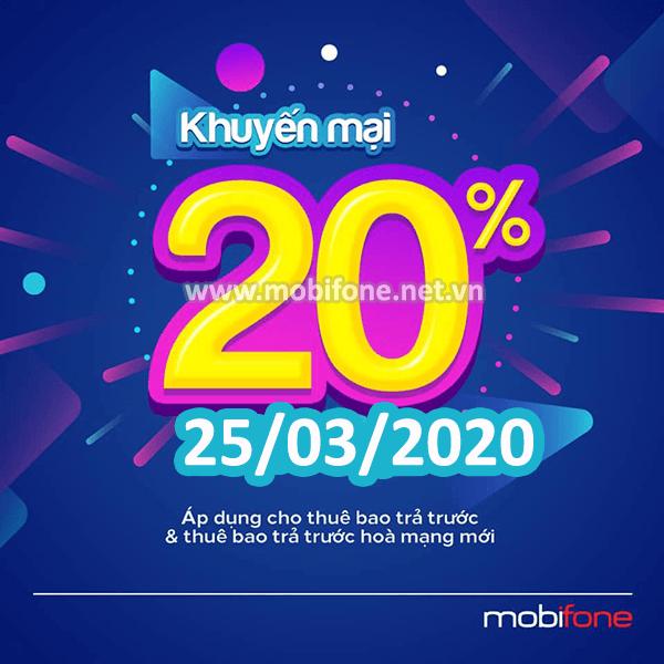 Mobifone khuyến mãi 25/3/2020 ưu đãi NGÀY VÀNG toàn quốc