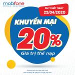 Mobifone khuyến mãi 22/4/2020 NGÀY VÀNG nạp thẻ tặng 20% giá trị