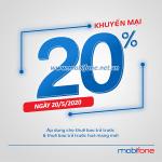 Mobifone khuyến mãi 20/5/2020 NGÀY VÀNG nạp thẻ tặng 20% giá trị thẻ nạp