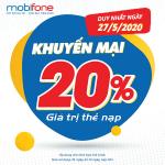 Mobifone khuyến mãi 27/5/2020 NGÀY VÀNG nạp thẻ tặng 20% giá trị tiền nạp
