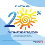 Mobifone khuyến mãi 1/7/2020 ưu đãi NGÀY VÀNG tặng 20% tiền nạp