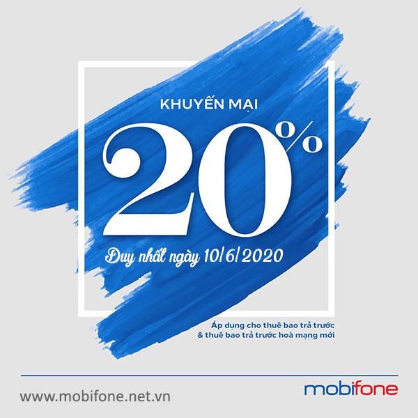 Mobifone khuyến mãi 10/6/2020 ưu đãi NGÀY VÀNG trên toàn quốc