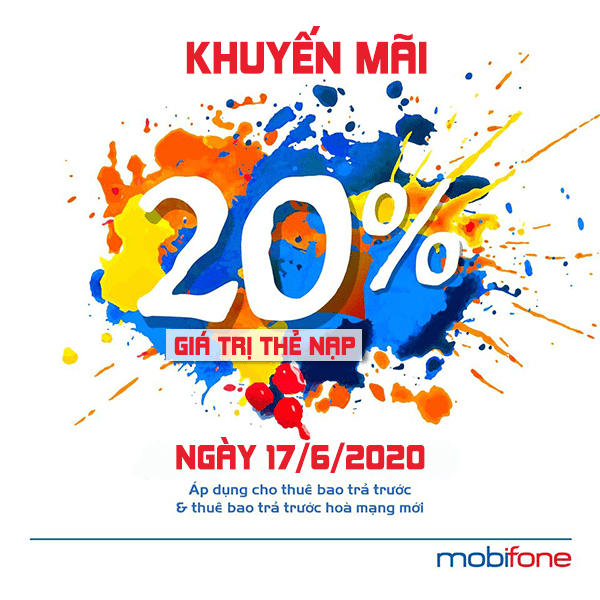 Mobifone khuyến mãi 15/6/2020 NGÀY VÀNG nạp thẻ tặng 20% tiền nạp