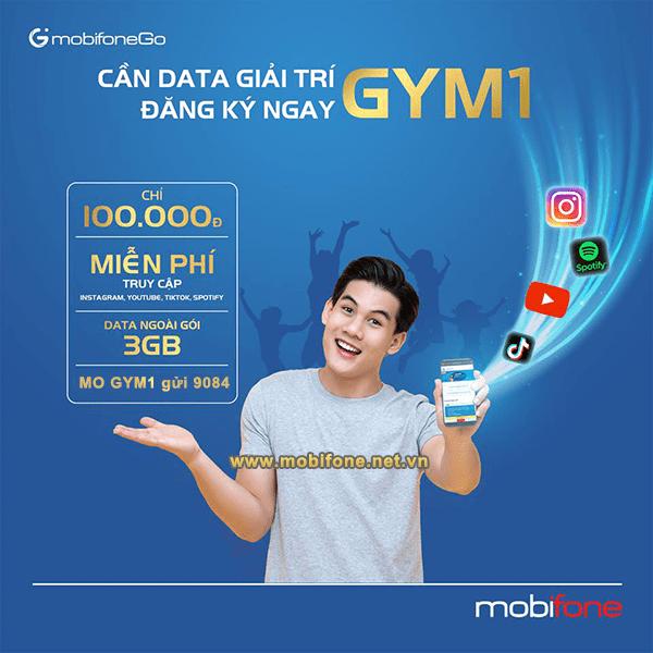 Cách đăng ký gói GYM1 Mobifone ưu đãi giải trí thả ga trên Tiktok, Instagram, Youtube, Spotify tặng thêm 3GB data