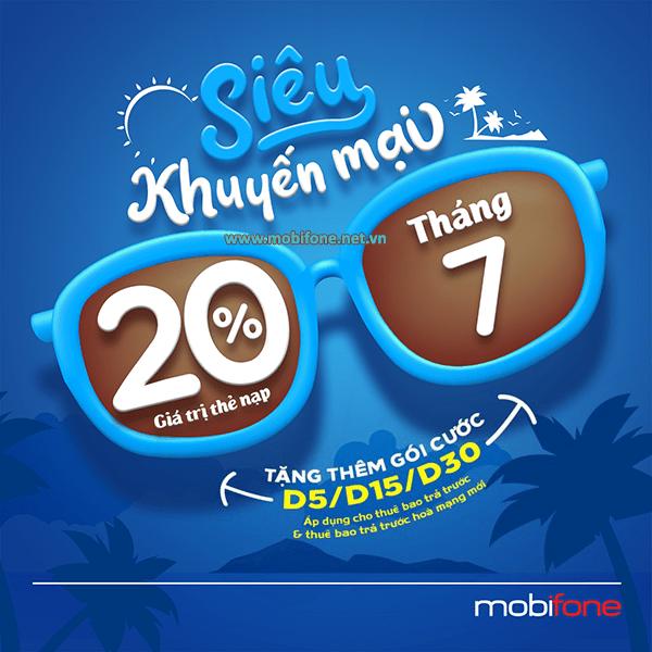 Khuyến mãi Mobifone nạp tiền tháng 7 tặng data gói D5, D15, D30 Mobifone