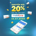 Mobifone khuyến mãi 15/7/2020 tặng 20% giá trị tiền nạp