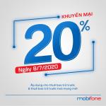 Mobifone khuyến mãi 8/7/2020 NGÀY VÀNG nạp thẻ tặng 20% tiền nạp