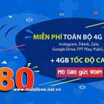 Cách đăng ký gói G80 Mobifone nhận 4GB data, thả ga giải trí trên Instagram, Tiktok...