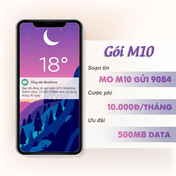 Đăng ký gói cước M10 Mobifone có ngay 500MB data giá chỉ 10k/tháng
