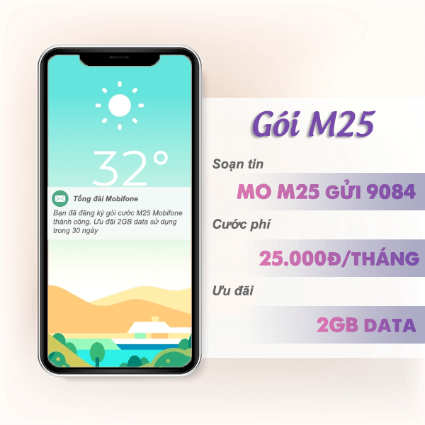 Đăng ký gói cước M25 Mobifone có ngay 2GB data tốc độ cao