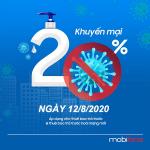 Mobifone khuyến mãi 12/8/2020 ưu đãi NGÀY VÀNG tặng 20% giá trị thẻ nạp