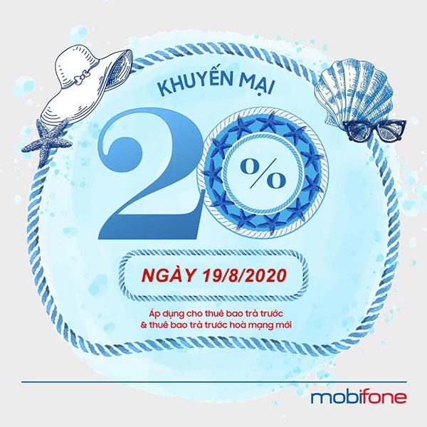 Mobifone khuyến mãi 19/8/2020 NGÀY VÀNG nạp thẻ tặng 20%
